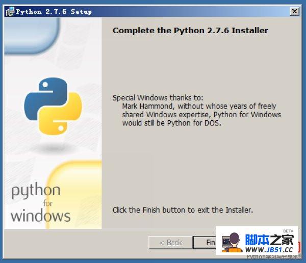 点击完成python安装