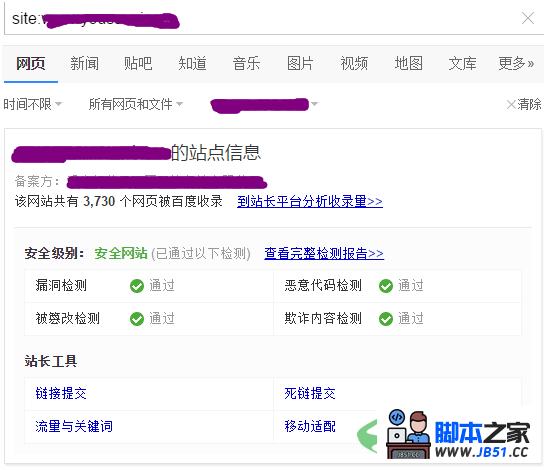 百度site命令查询结果的几种展示方式区别3